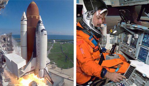 space shuttle blast off backdrop