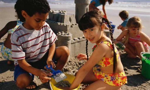 seaside sandcastle building backdrop