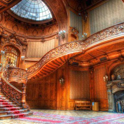 castle stairway backdrop
