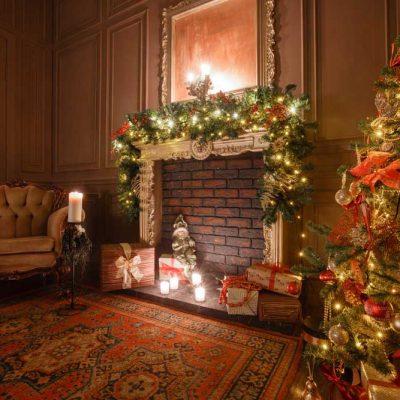christmas fireside backdrop