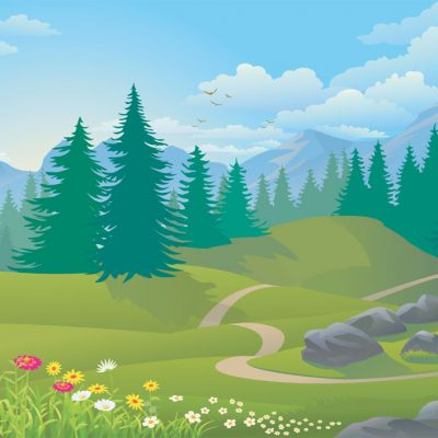 rolling hills backdrop illustration