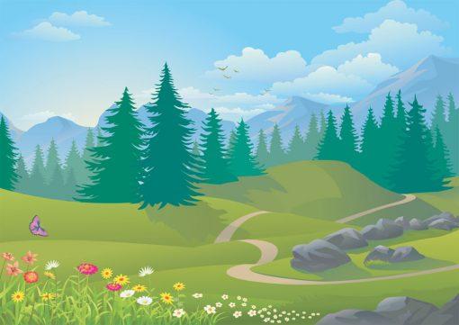 rolling hills backdrop illustration