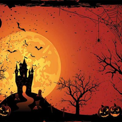 halloween haunted castle backdrop