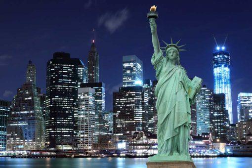 new york skyline night time backdrop