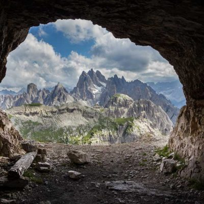 cave mouth backdrop - mountains