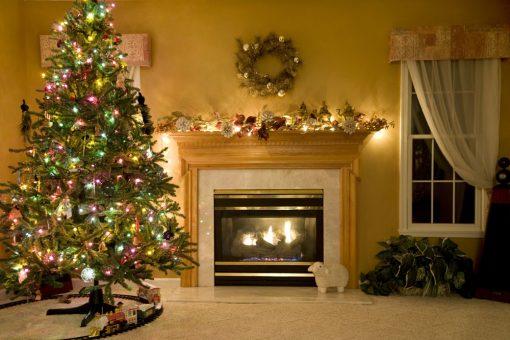 christmas backdrop fireside