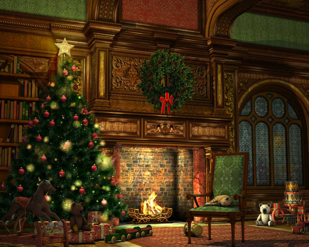 christmas fireside backdrop 4