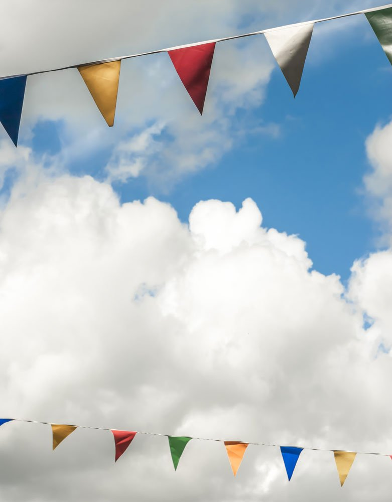 summer fete backdrop bunting