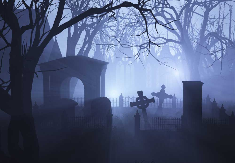 halloween graveyard backdrop