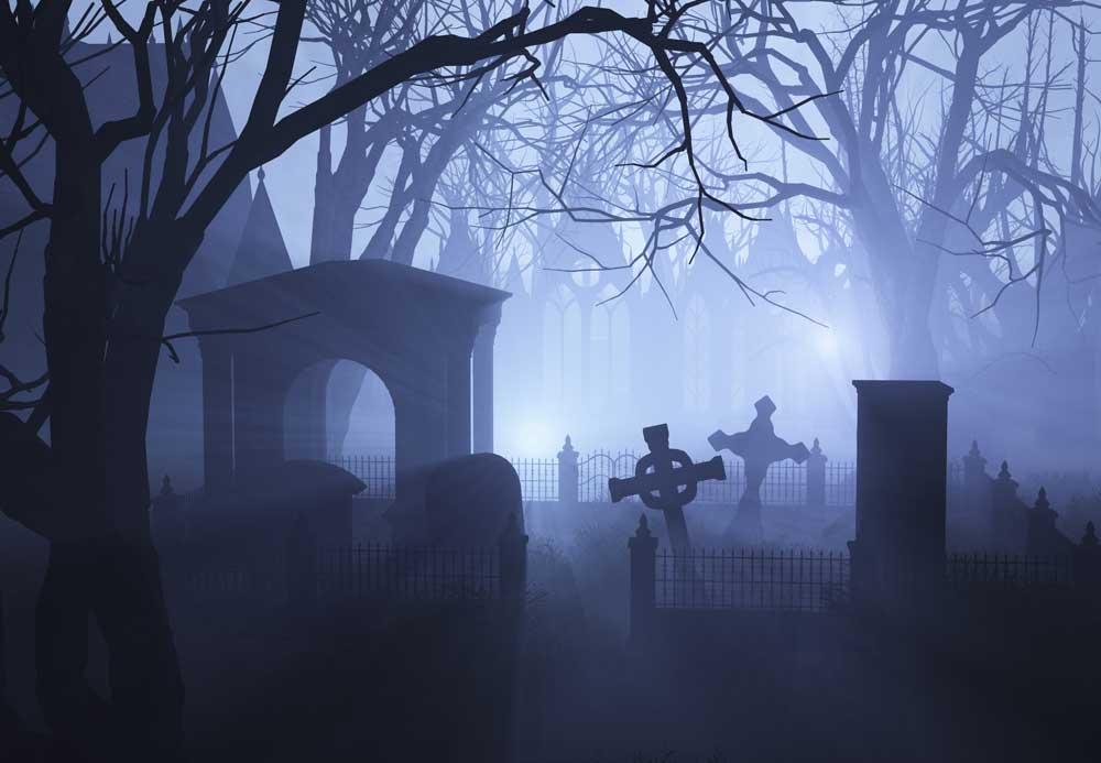 halloween graveyard backdrop