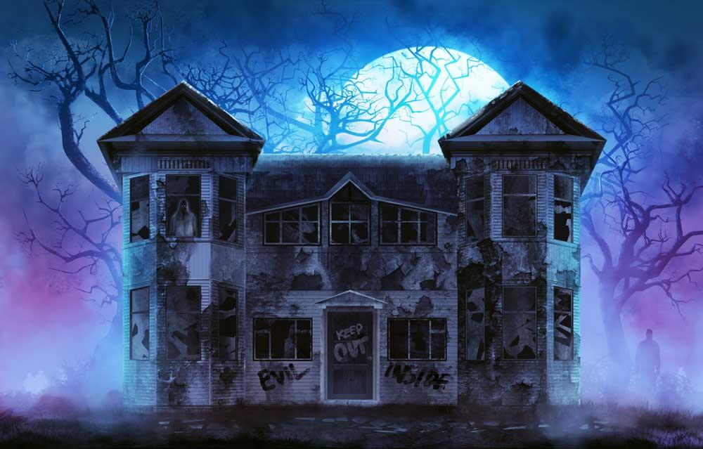 halloween hanuted house backdrop