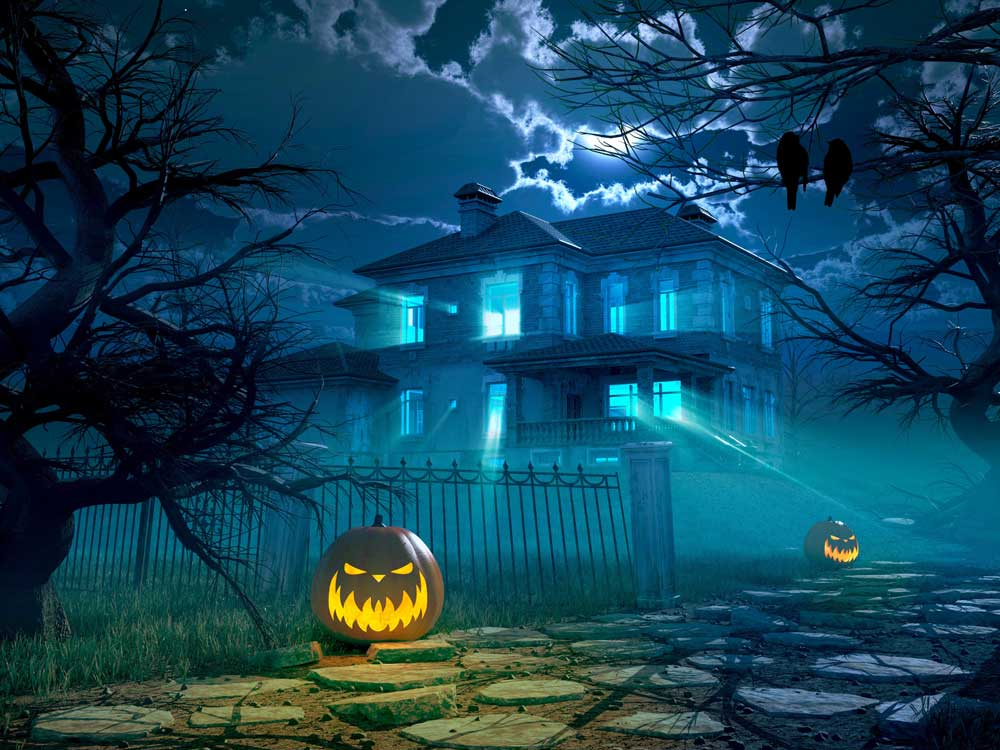 halloween haunted house backdrop 2