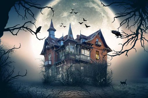 halloween haunted house backdrop 3