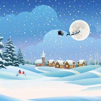 santa in sleigh over rooftops backdrop