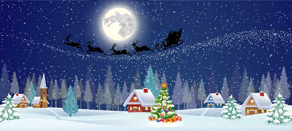 santa sleigh rooftops backdrop 4