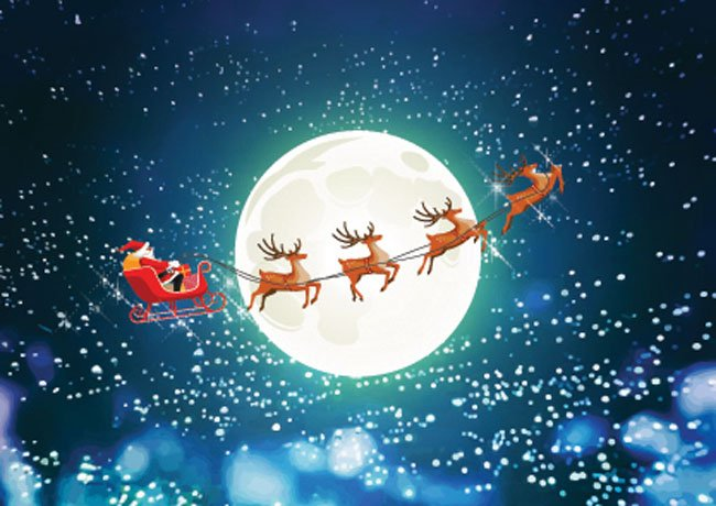 santa sleigh rooftops backdrop 2