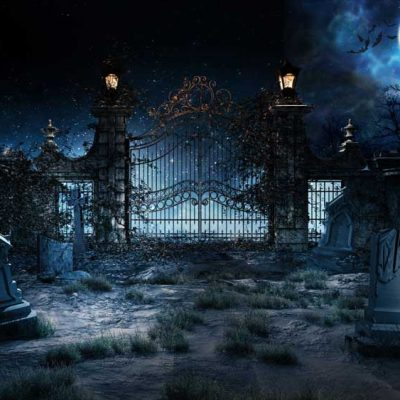 Halloween gates and moon