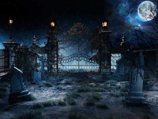 Halloween gates and moon