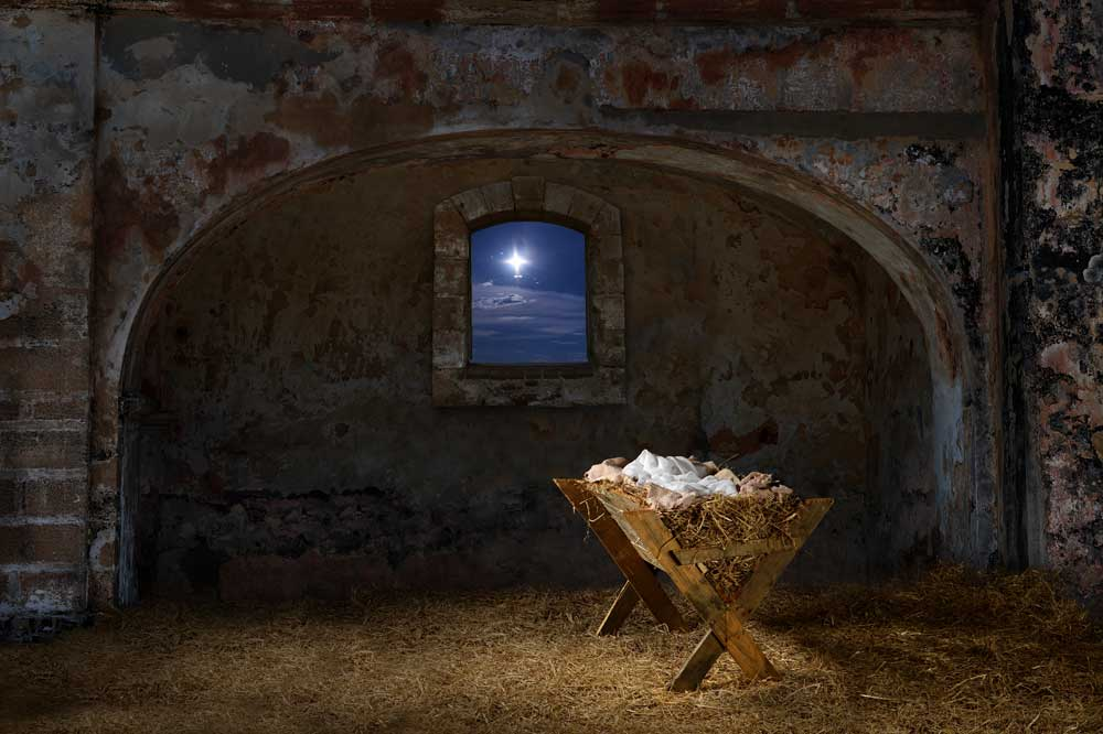 Christmas Stable Background.Nativity Empty Stable Backdrop