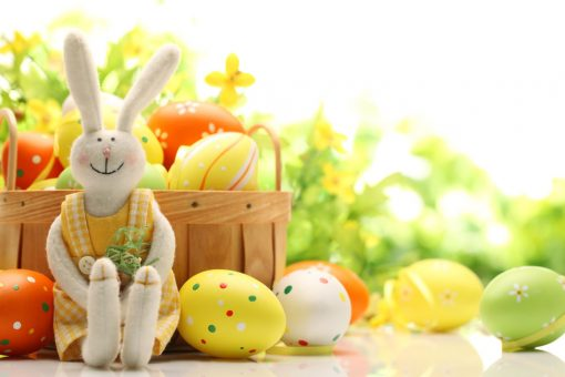Easter-bunny-and-painted-eggs