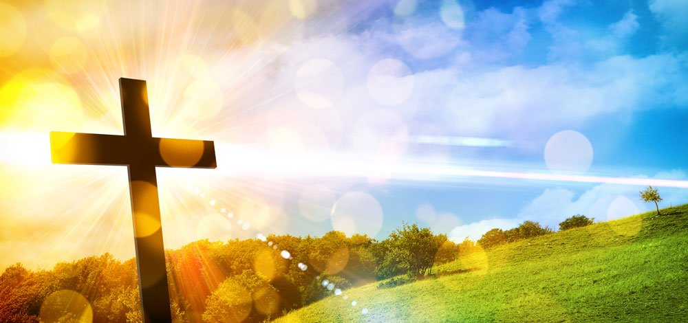 Easter Cross Meadow Sun Backdrop - Mybackdrop.co.uk