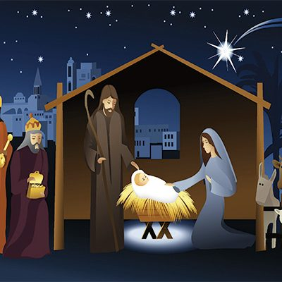 Nativity Illustration at night